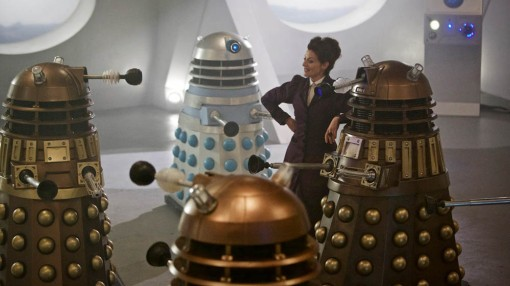 The Daleks are taken out by being covered with old Dalek crap. Seriously.